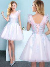 Lovely A-line Vestidos de Damas White V-neck Tulle Sleeveless Mini Length Lace Up