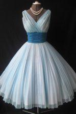 Beauteous Knee Length Ball Gowns Sleeveless White Dress for Prom Zipper