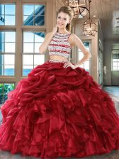 High End Pick Ups Floor Length Wine Red Quinceanera Gowns Scoop Sleeveless Backless