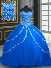 High Class Blue Lace Up Sweetheart Beading and Appliques Sweet 16 Dress Tulle Sleeveless Brush Train