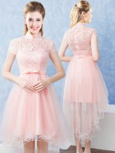 Customized Short Sleeves High Low Lace and Belt Zipper Quinceanera Court Dresses with Baby Pink