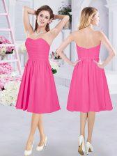 Enchanting Knee Length Hot Pink Quinceanera Court Dresses Sweetheart Sleeveless Zipper