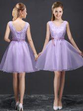 Popular Mini Length Lavender Quinceanera Dama Dress V-neck Sleeveless Lace Up