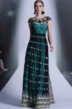 Scoop Cap Sleeves Organza Floor Length Side Zipper Prom Dress in Teal with Appliques and Pleated