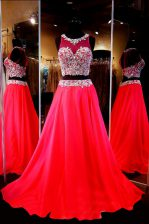 Gorgeous Scoop With Train A-line Sleeveless Red Evening Dress Sweep Train Backless
