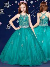 Scoop Floor Length Ball Gowns Sleeveless Teal Kids Pageant Dress Zipper