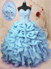 Baby Blue Sleeveless Beading and Ruffles and Pick Ups Floor Length Sweet 16 Dresses