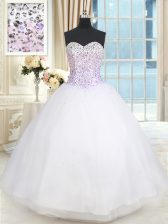 Floor Length Ball Gowns Sleeveless White Sweet 16 Dresses Lace Up