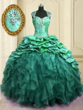 Graceful With Train Lace Up Sweet 16 Quinceanera Dress Turquoise for Military Ball and Sweet 16 and Quinceanera with Beading and Ruffles and Pick Ups Brush Train