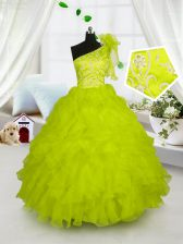 One Shoulder Yellow Green Ball Gowns Embroidery and Ruffles Kids Pageant Dress Lace Up Organza Sleeveless Floor Length