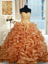 Pick Ups Sweetheart Sleeveless Brush Train Lace Up Sweet 16 Dress Champagne Organza