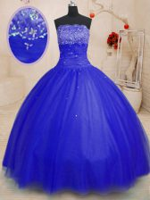 Exquisite Floor Length Ball Gowns Sleeveless Royal Blue Sweet 16 Dresses Lace Up