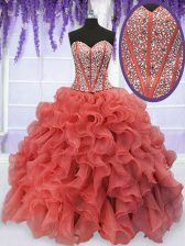 Ball Gowns Sweet 16 Dress Coral Red Sweetheart Organza Sleeveless Floor Length Lace Up