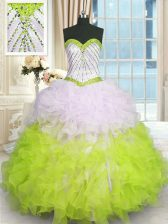 Cheap Multi-color Lace Up Quinceanera Dresses Beading and Ruffles Sleeveless Floor Length