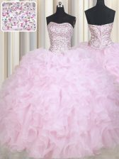Unique Baby Pink Sleeveless Floor Length Beading and Ruffles Lace Up Sweet 16 Dresses