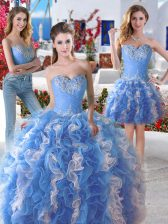 Most Popular Three Piece Blue And White Organza Lace Up Quinceanera Gown Sleeveless Floor Length Beading