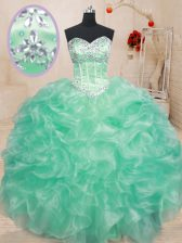Apple Green Sweetheart Neckline Beading and Ruffles Quinceanera Gowns Sleeveless Lace Up