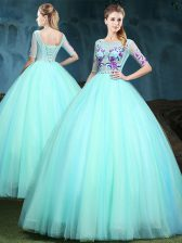 Scoop Half Sleeves Lace Up Floor Length Appliques Quince Ball Gowns