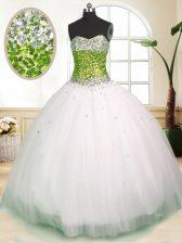 Sleeveless Floor Length Beading Lace Up Sweet 16 Dresses with White