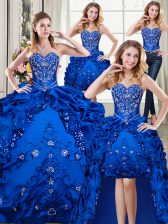 Four Piece Sweetheart Sleeveless Organza and Taffeta Quinceanera Gowns Beading and Embroidery and Pick Ups Lace Up