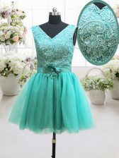 Modern Turquoise Sleeveless Mini Length Beading and Lace and Belt and Hand Made Flower Lace Up Evening Dress