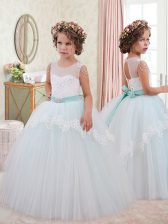 Scoop Sleeveless Lace Up Little Girl Pageant Dress White Tulle