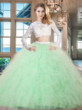 Fitting Apple Green Tulle Zipper Scoop Long Sleeves Floor Length 15 Quinceanera Dress Beading and Lace and Ruffles