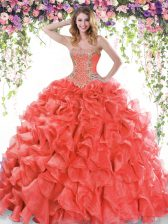 Great Red Organza Lace Up Sweetheart Sleeveless Quinceanera Gown Sweep Train Beading and Ruffles