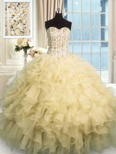 Flare Champagne Sleeveless Floor Length Beading and Ruffles Lace Up 15th Birthday Dress