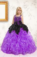 Black and Purple Sleeveless Organza Lace Up Little Girls Pageant Gowns for Party and Wedding Party
