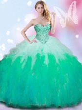 Stylish Sleeveless Beading and Ruffles Lace Up Vestidos de Quinceanera