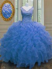 Blue Zipper V-neck Beading and Ruffles 15th Birthday Dress Organza Sleeveless