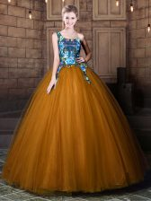 Suitable One Shoulder Sleeveless Tulle Quinceanera Dresses Pattern Lace Up