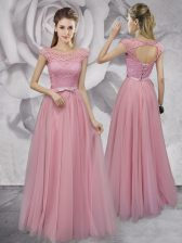 Fantastic Pink Homecoming Dress Prom and Party with Lace and Ruching and Bowknot Scoop Cap Sleeves Lace Up