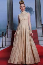 Traditional Peach High-neck Zipper Beading and Sequins Dress for Prom Sleeveless