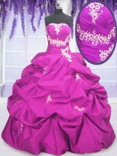 Pick Ups Floor Length Fuchsia Sweet 16 Dresses Strapless Sleeveless Lace Up