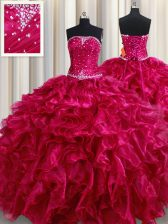 Fuchsia Strapless Lace Up Beading and Ruffles Sweet 16 Quinceanera Dress Sleeveless