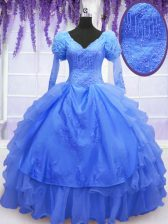 Perfect One Shoulder Blue Long Sleeves Beading and Embroidery and Hand Made Flower Floor Length Sweet 16 Dresses