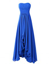 Royal Blue Prom Gown Prom and Wedding Party with Ruffles Strapless Sleeveless Zipper
