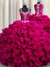 Sexy Zipple Up See Through Back Fuchsia Sleeveless Beading and Ruffles Floor Length 15th Birthday Dress