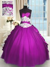 Exquisite Taffeta and Tulle Sleeveless Floor Length Quinceanera Dress and Beading and Lace and Ruching and Pick Ups