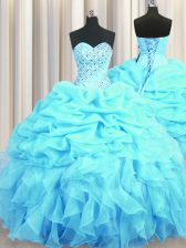 Custom Designed Aqua Blue Organza Lace Up Sweetheart Sleeveless Floor Length Ball Gown Prom Dress Beading and Ruffles and Pick Ups