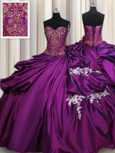 Purple Sleeveless Taffeta Lace Up 15 Quinceanera Dress for Military Ball and Sweet 16 and Quinceanera