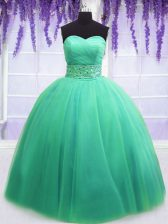 Turquoise Sleeveless Floor Length Beading and Belt Lace Up Vestidos de Quinceanera