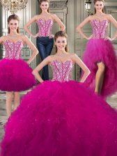 Popular Three Piece Fuchsia Sleeveless Beading and Ruffles Floor Length Sweet 16 Dress