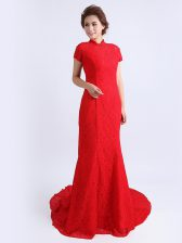 Red Cap Sleeves Lace Brush Train Backless Homecoming Dress for Prom and Party