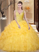 Free and Easy Gold Backless V-neck Lace and Appliques and Ruffles and Pick Ups Quinceanera Dresses Organza Sleeveless