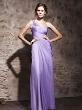 Dramatic One Shoulder Sleeveless Chiffon Prom Party Dress Beading and Ruching Side Zipper
