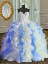 Floor Length White and Blue Sweet 16 Dresses Sweetheart Sleeveless Lace Up