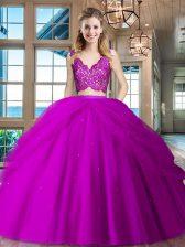 Fuchsia V-neck Zipper Lace and Ruffled Layers Sweet 16 Quinceanera Dress Sleeveless